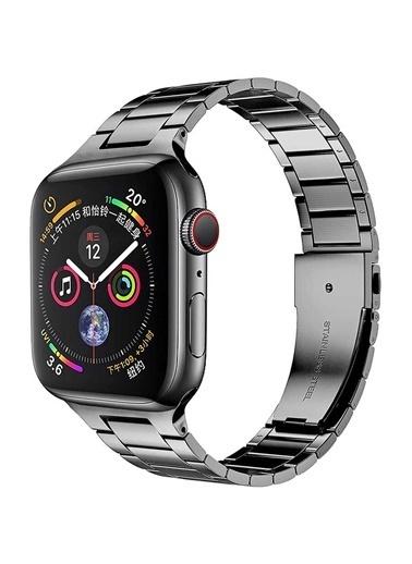 Wiwu Apple Watch 38mm Ultra Thin Steel Belt Three Beads Metal Kordon Gri
